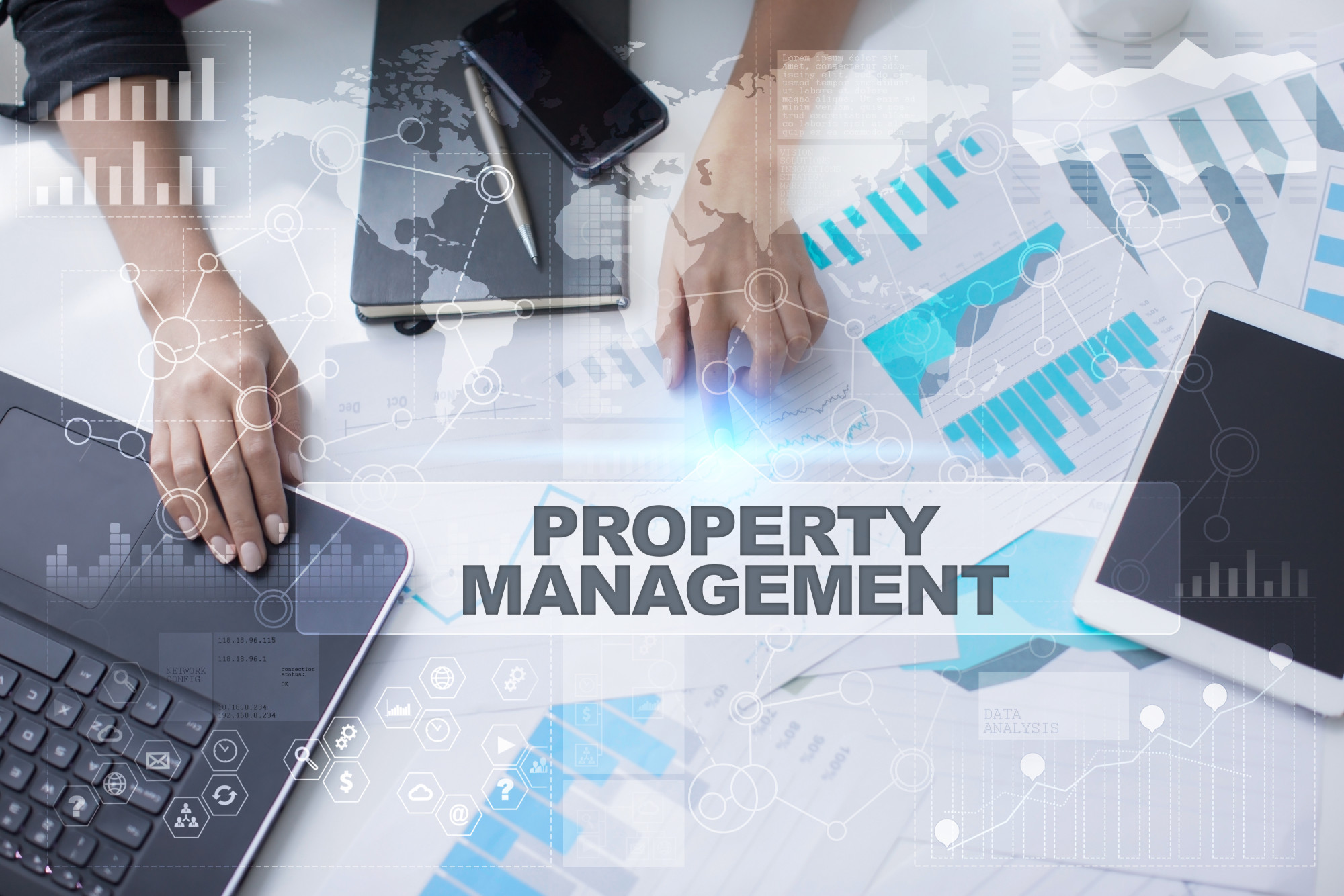 Woman working with documents, Tablet pc and notebook. Property management Concept.